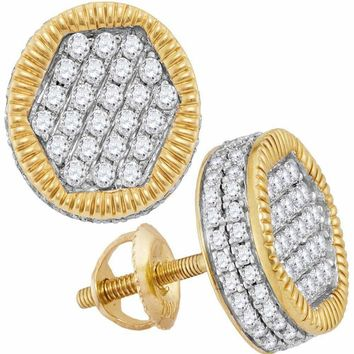 10kt Yellow Gold Mens Round Diamond Circle 3D Cluster Stud Earrings 1-1-10 Cttw - FREE Shipping (US/CAN)