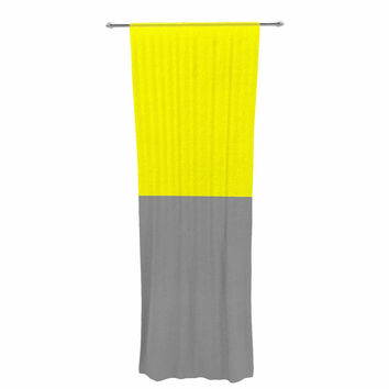 "Trebam ""Polovina V.5"" Yellow Gray Decorative Sheer Curtain"