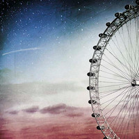 Ferris wheel print aquamarine blue sky peach and pink by Raceytay