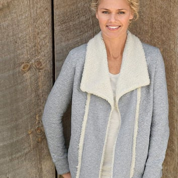 Sherpa-Trimmed Open Cardigan: Tees and Knit Tops | Free Shipping at L.L.Bean