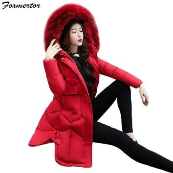 New Winter Jacket Women thicken Warm Fashion Solid Color Parka Coat Long Hooded Fur Collar Jacket  Female Long Outwear Plus Size