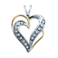 10k White Two Tone 0.05Ctw Diamond  Heart Pendant: Pendant