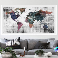 XL Poster Push Pin World Map travel Art Print Photo Paper watercolor green Wall Decor Home (frame is not included) (P08) FREE Shipping USA!!