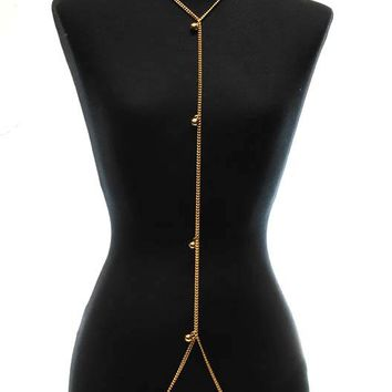Kyra Gold Bulb Body Chain Necklace