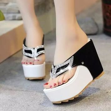 Summer Women Sandals High Heel Rhinestone Clip Toe Platform Shoes Flip Flops Wedge Shoes