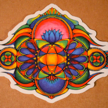 Beautiful Hand-Drawn Psychedelic Lotus Sticker