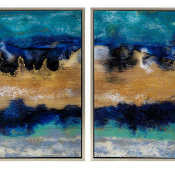 Abstract Mirrored Blue Waves Paintings Set of Two