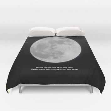 Art Duvet Cover The Moon photography home decor photograph black white full photo bedding full queen king bedroom inspirational quote gray