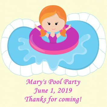 Pool Birthday Party Favor Tags Red Hair