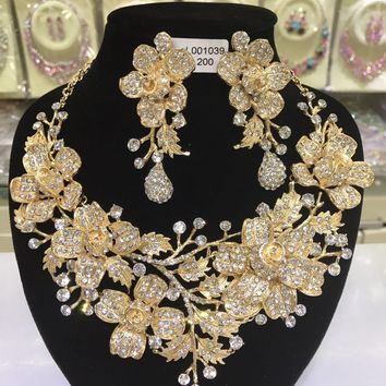 Luxury Gold Wedding Flower Necklace Earrings Set Chunky Statement Bridal Jewelry Set Crystal Rhinestone Jewelry for Women WC027