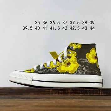Kuyou Fa19630 Converse Chuck 70 1970s Gaobang Canvas Shoes Printed With Little Yellow Flower