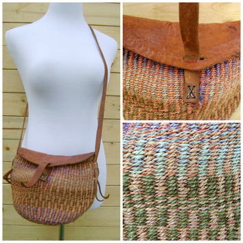vintage WOVEN raffia cross body bag LEATHER stamped flap browns blue green hippie boho ethnic purse summer handbag african inspired tote bag