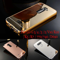 Case For LG G5 Luxury Gold Plating Metal Frame Acrylic Mirror Back case For LG G2 3 4 5 V10 K10 For LG K5 K7 K10 D690 740 LS770