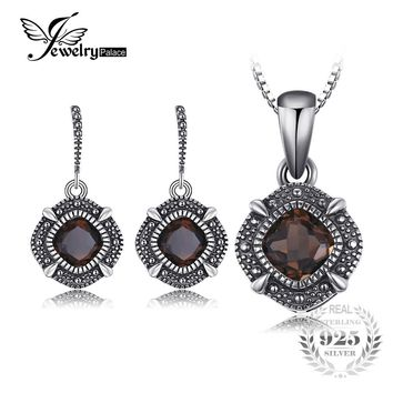 JewelryPalace Vintage 1.4ct Genuine Smoky Quartz Dangle Earrings Pendant Necklace Ring Jewelry Sets 925 Sterling Silver