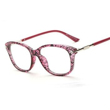 Fashion Crystal Decoration Eyewear Brand Designer Women Square Glasses Frames Retro Lady Eyeglasses
