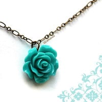 Teal Rose Necklace. Statement Necklace. Flower Necklace by Liz Hutnick on Etsy