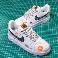 Nike Air Force 1 ¡¯07 Prm Just Do It White Black Total Orange Sport Shoes - Best Online Sale