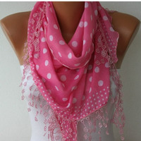 ON SALE -Polka Dot  Shawl Scarf -  Cotton Scarves -  Cowl with  Lace Edge - Pink