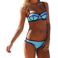 Voglee Sexy Neoprene Swimsuit Set Push up Bikini Set (S, 10Dark Blue)