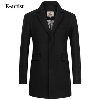 E-artist Men's Slim Fit Business Casual Long Wool Coats Male Warm Winter Jackets Peacoats Outerwear Overcoats Plus Size 5XL N32