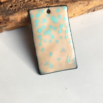 Enamel on Copper Pendant, Light Brown Enamel, Light Blue Enamel, Dotted Enamel Pendant, Destashed Pendant, Etsy, Jewelry Supplies