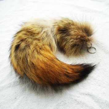 Real Fur Coyote Tail 1719 Totem Key chain Key Ring by EvasFeathers