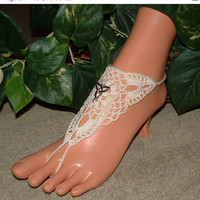 SALE Crochet Trinity, Infinity, Beach Wedding Barefoot Sandals, Sandal, Anklet, Bridal Wedding Shoes, Footless, Beach Jewelry