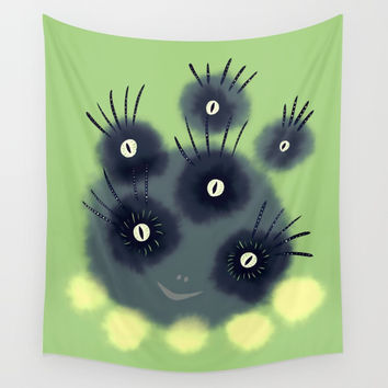 Creepy Cute Spider Face Monster Wall Tapestry by borianagiormova