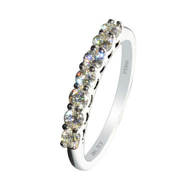 Free Shipping High quality 0.7 Carat NSCD Synthetic Diamond Infinity Anniversary Wedding Rings For Women