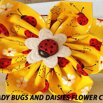 Yellow & Red Lady Bug Flower Collar with Daisies for Girl Dogs & Cats with Available Matching Leash