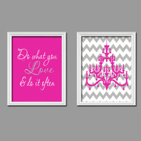 Do What You Love Girl Quote Chandelier Print Artwork Set of 2 Prints 8x10 Wall Decor Art Nursery Picture