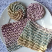 2 Eco Friendly Dish Cloths & 2 Tawashi Scrubbers - Sorbet - Textured Crocheted Cheerful Reusable