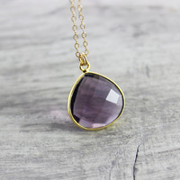 Dark Purple Necklace, Gold Filled Necklace, Amethyst Quartz Necklace, Violet Gemstone Necklace, Dainty Bezel Necklace, Delicate Cable Chain