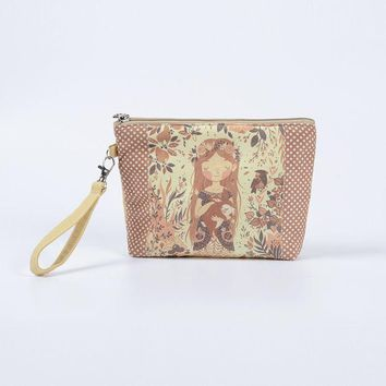 DCCKHG7 New Big Size Women Make Up Bags Flower Floral Canvas Zipper Cosmetic Case Simple Casual Girl Lady Pouch Storage Travel Organizer