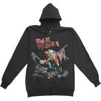 Iron Maiden Men's  Scuffed Trooper Zippered Hooded Sweatshirt Black