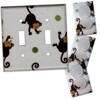 Mod Pod Pop Monkey Double Light Switch Plate/Outlet Covers Set with matching safety plugs