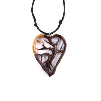 pin petrified pendant wood hand carved wooden arsmakars gift naturalists necklace by