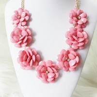 Beaded Rose Necklace, Flower Statement Necklace, Pink Necklace, Wedding Necklace