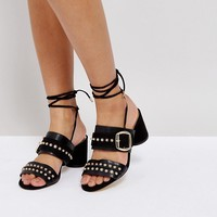 River Island Lace Up Studded Mules at asos.com
