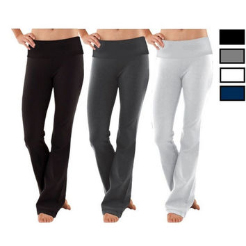 Women Soft Comfy Cotton Spandex Yoga Fold Over Pant Lounge Gym Sports Athletic = 5660396929
