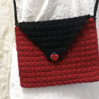 Crochet Purse Clutch Bag Ladybug Black and Red