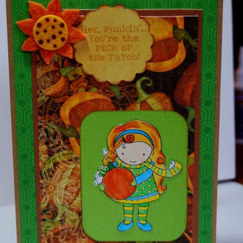 Hey Pumpkin Little Girl - Handmade Fall Greeting Card