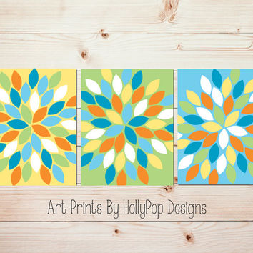 Dahlia Flower Burst Wall Art Bright Colorful Bedroom Wall Art Yellow Blue Green Bathroom Wall Art Floral Flower Burst Pictures 1042