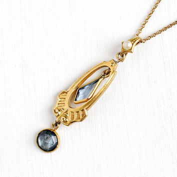 Antique Gold Tone Simulated Aquamarine Edwardian Era Necklace - Vintage Lavaliere Art Nouveau 1900s Pendant Pearl Blue Glass Jewelry