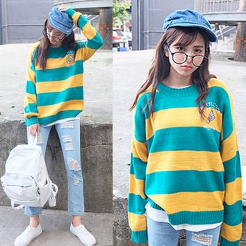 Striped Knit Loose Fit Pullover Sweater