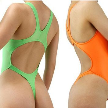 One Piece Backless Swimwear High Cut Sexy Swimsuit Womens Thong Bathing Suits Leotard Body Suit Sexy Love Night Dance Wear
