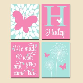 DANDELION BUTTERFLY Nursery Wall Art, We Made A Wish Quote, Baby Girl Nursery Decor, Girl Bedroom Pictures, Canvas or Prints, Set of 4 Decor