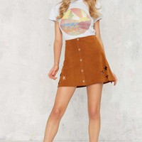 After Party Vintage Starred From the Bottom Suede Skirt