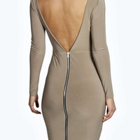Paige Backless Zipped Slinky Midi Bodycon Dress