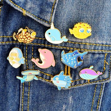 Miss Zoe Cartoon cute marine life shark whale dolphin Pins Lapel pins Denim Jacket Pin Buckle Shirt Badge Fashion Gift for Kids